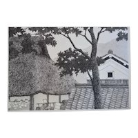 """Japanese Etching Aquatint Entitled, """"Trees And Roofs No. 3 """" By Listed Japanese Artist, Ryohei Tanaka, Artist Signed, Dated 1986"""