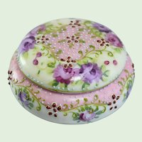 Antique Nippon Hand Painted Moriage Beaded Porcelain Trinket Box With Floral Motif