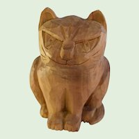 Vintage Hand Carved Wood Cat Figure, Artist Signed