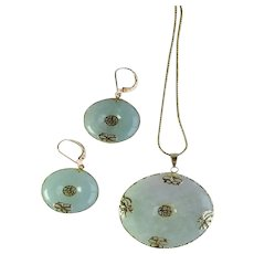 Vintage Chinese Natural Green Jadeite Jade Bi- Disc Pendant And Earring Set, 14K Yellow Gold