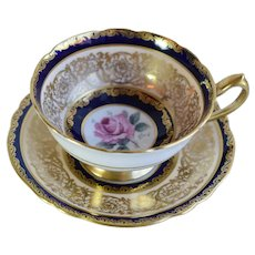 Vintage Paragon Double Warranty Cobalt Blue And Gold Scrollwork Bone China Cup And Saucer England With Pink Roses