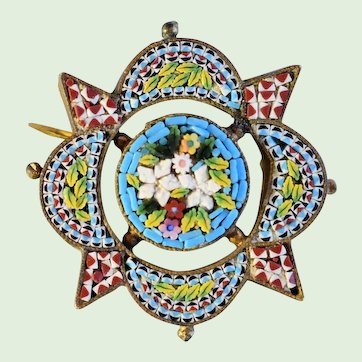 Antique Micro Mosaic Italian Pin, Brooch With Floral Motif