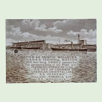 "Antique Wedgwood Calendar Tile, ""Pier 46 Mystic Wharves B & M. R.R. Terminal, Boston,"" Circa 1913. Rare"
