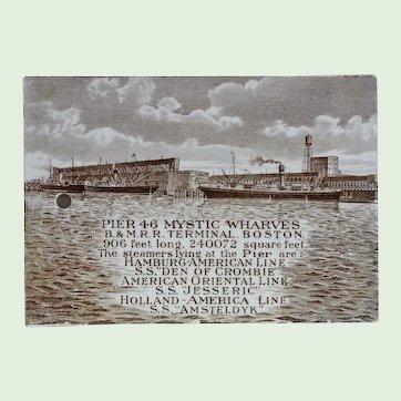"""Antique Wedgwood Calendar Tile, """"Pier 46 Mystic Wharves B & M. R.R. Terminal, Boston,"""" Circa 1913. Rare"""