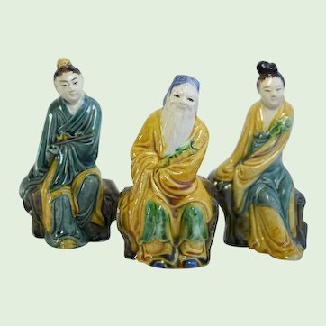 Antique Chinese Hand Painted Glazed Learned Scholars  Guanyin Pottery Figures, Set of 3