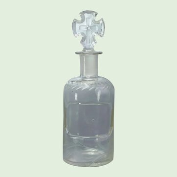 19th Century Victorian Holy Water Etched Glass Bottle