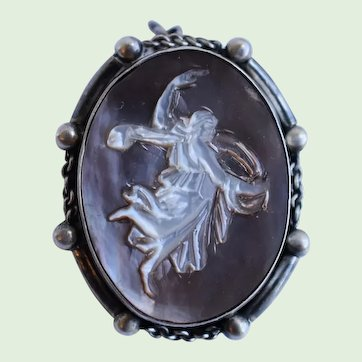 Antique Italian Carved Abalone Shell Mourning Brooch Pendant with Angel 800 Silver