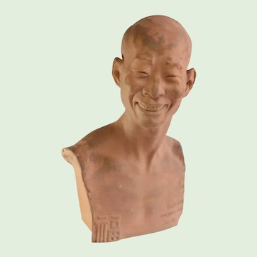 """Terracotta Bust Of A Chinese Man """"Chih Fan Han Yang"""" Paris, France Artist Signed, Jean Mich (1871-1919)"""
