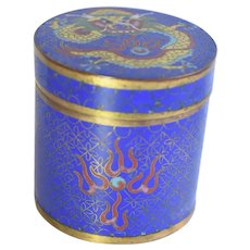 Antique Chinese Cloisonne Enamel Lidded Box With Dragon Motif