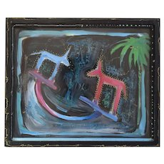 Contemporary Abstract Reverse Glass Painting By California Listed Artist, Mary Bayard White