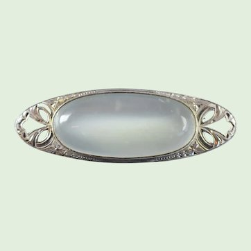 Antique Edwardian Sterling Silver Large Moonstone Brooch Pin