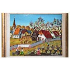 Folk Art Primitive Oil Painting Of Village Scene By Hungarian Listed Artist, A. Kowalski, (1926-
