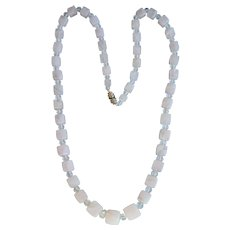 Art Deco Rose Quartz And Rock Crystal Necklace