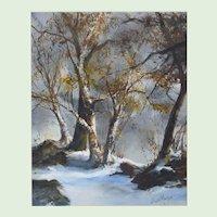 "Vintage Watercolor Painting Of A Landscape Entitled, "" Winter Light 1 "" By Listed Massachusetts, Rockport, Cape Ann, Artist, Jerush Montez (1914-2005)"