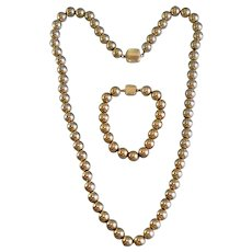 """Vintage Gold Filled Round Beaded Necklace WIth Matching Bracelet, 24 1/2,"""" 8 MM, 1950's"""