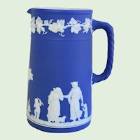 """Antique 19th Century Large Blue Jasperware Neo-Classical Cameo Wedgwood Pitcher 8 1/4"""""""
