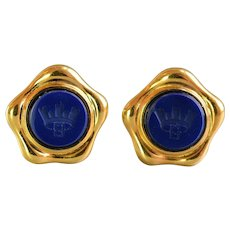 Vintage Fendi Blue Lapis Glass Intaglio Crown Crest Logo Gold Plated Pair Of Earrings, Italy Runaway Couture Clip On
