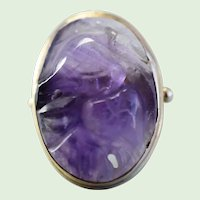 Vintage Large Chinese Carved Amethyst Ring With Floral Motif, 14K Yellow Gold