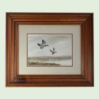 "Landscape Realsim Watercolor Painting Of Mallard Ducks Entitled, ""Premium Quackers"" By Listed WPA American Artist Marlowe Urdahl, Artist Signed"