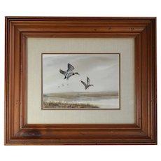 "Landscape Realsim Watercolor Painting Of Mallard Ducks Entitled, ""Premium Quackers"" By Listed WPA American Artist Marlowe Urdahl, Artist Signed"
