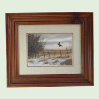 "Landscape Realism Watercolor Painting Of A Pheasant Entitled, ""Ring Around The Collar"" By Listed WPA  American Artist Marlowe Urdahl, Signed"