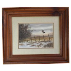 """Landscape Realism Watercolor Painting Of A Pheasant Entitled, """"Ring Around The Collar"""" By Listed WPA  American Artist Marlowe Urdahl, Signed"""