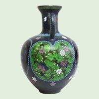 Antique Japanese Cloissone Enamel Foil Floral Vase With Heart Motif Meiji Period
