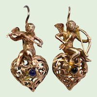 Vintage Italian Renaissance Revival Sterling SIlver Vermeil Cherub Putti Angel Musical Filigree Earrings With Sapphires, Pierced, 925