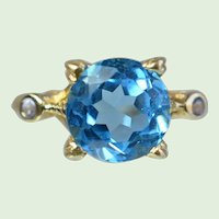 Vintage Retro Natural Blue Spinel Ring With White Sapphires, 14K Gold, 1940's