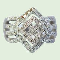 Vintage ZRW Estate Designer Diamonds And White Gold Ring, 10K White Gold