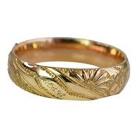 Antique Edwardian Gold Filled Engraved Repousse Hinged Bangle Bracelet
