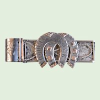 """19th Century Antique Sterling Silver Engraved """" Double Luck"""" Horseshoe Brooch With Sled, Circa 1870's, Rare"""