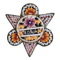 "Antique 19th Century Grand Tour Italian Micro Mosaic ""ROMA"" brooch, Pin"