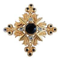 Vintage Swarovski Signed Maltese Cross Gold Tone Crystal Brooch, Pin
