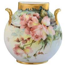 "Limoges Jean Pouyat France Hand Painted Gold Gilt Porcelain ""Roses"" Pillow Vase, Circa 1890-1932"