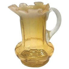 Art Glass Milk Pitcher w/Opalescent Ruffled Edge.