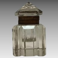 Antique Cut Crystal Inkwell Circa 1900