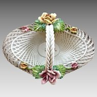 """16 3/4"""" Vintage Capodimonte Basket with Pink and Yellow Roses"""