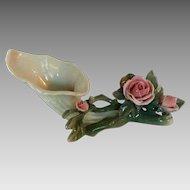 Vintage Karl ENS German Porcelain Cornucopia with Roses