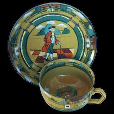 Deldare Ware Buffalo Pottery Cup and Saucer Dated 1909