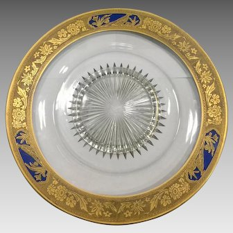 Heisey Elegant Glass, Etched, Gold Gilt, Cobalt Blue, Pheasant on a Stump Patten, Plate