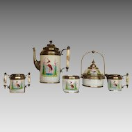 Five Piece Set of Heron Pattern Graniteware c. 1880