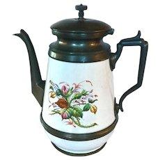 American Handpainted Graniteware Coffeepot C. 1880