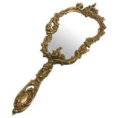 Victorian Period Bronze Hand Mirror c. 1890