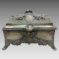 Victorian Period Pewter Dresser Box or Jewel Case c. 1880-1890