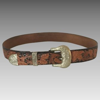 Wage Belt Buckle and Hand Tooled Leather Belt