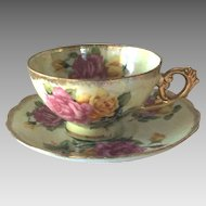 Vintage Japanese Porcelain Tea Cup and Saucer with Roses