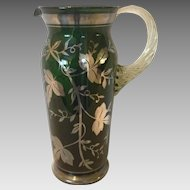 Art Glass Pitcher With Sterling Silver Overlay Details c.1900