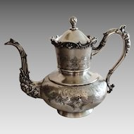 Rogers Smith Co. Silverplate Coffeepot in Relief and Engraving c. 1880
