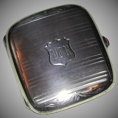 Exquisite Deco Sterling Silver Engraved Monogrammed Case marked